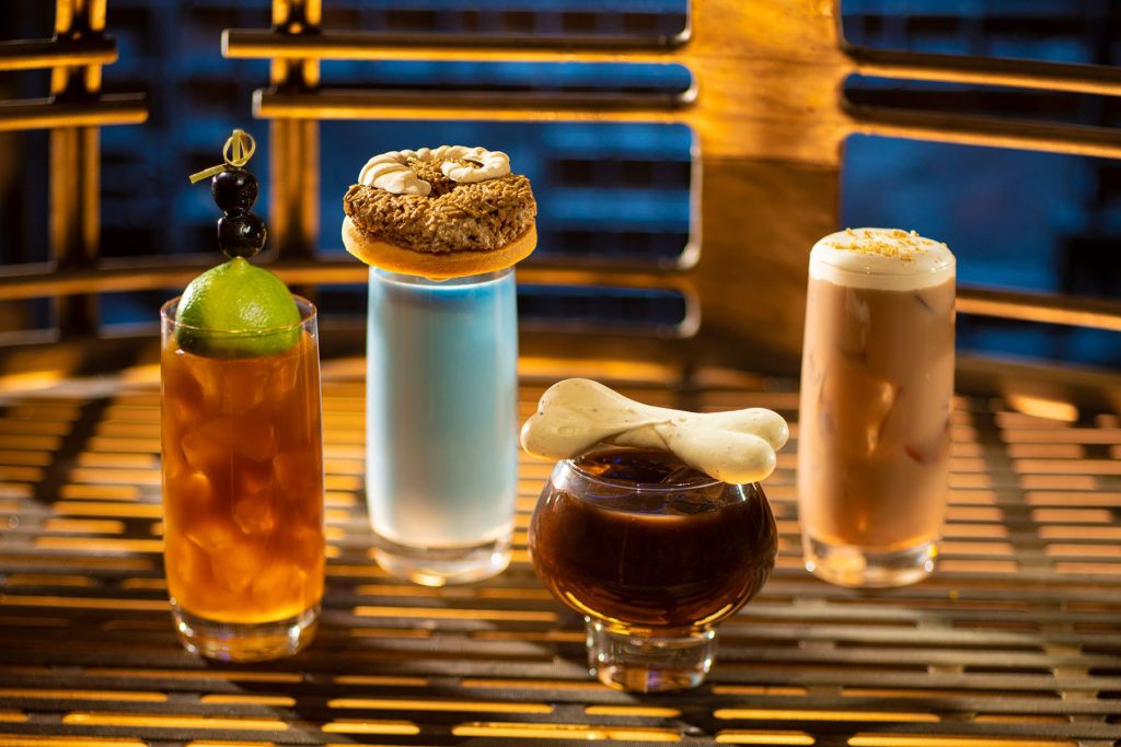 From left to right: Moogan Tea, Blue Bantha, Bloody Rancor (contains alcohol) and the Black Spire Brew can be found at Oga's Cantina inside Star Wars: Galaxy's Edge. (Kent Phillips/Disney Parks)