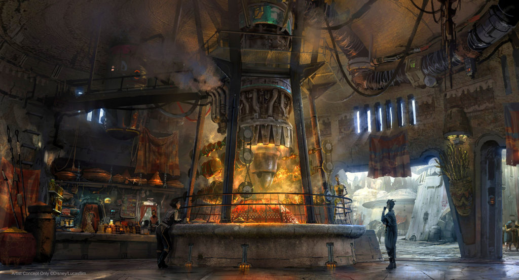 Concept art for Ronto Roasters, featuring meats spit-roasted over a former podracer engine. (Disney Parks)