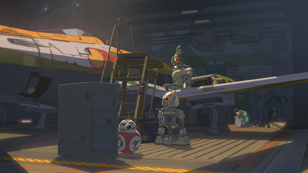 The Fireball in its hangar, with scoring, in Star Wars Resistance.