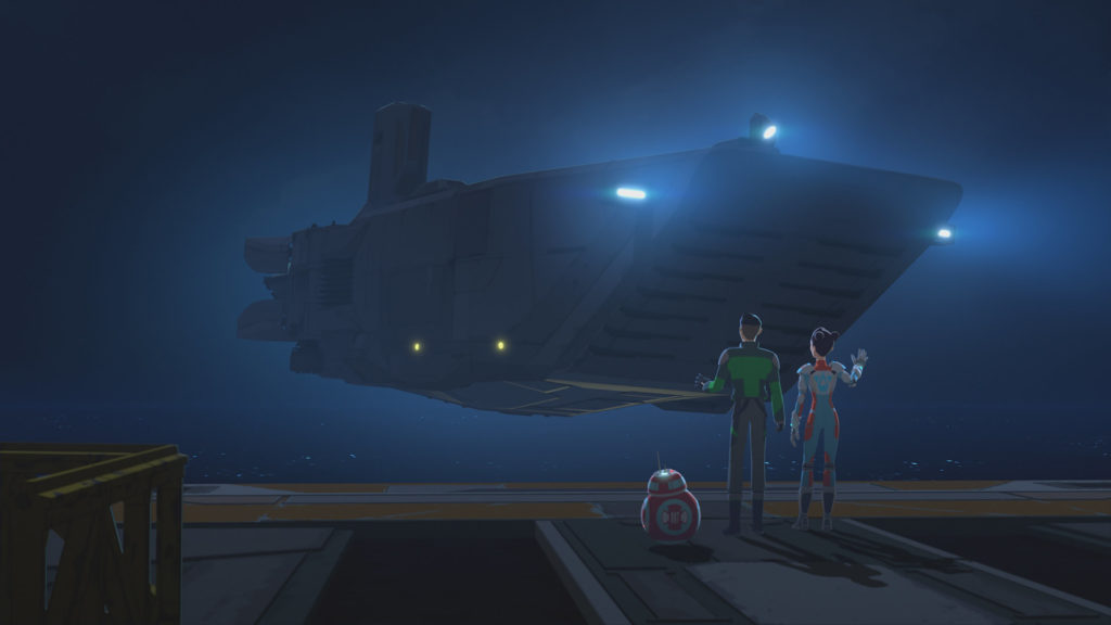 Aunt Z takes off in a First Order Transporter in Star Wars Resistance.