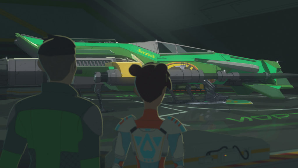 Kaz and Torra enter Hype's hangar in Star Wars Resistance.