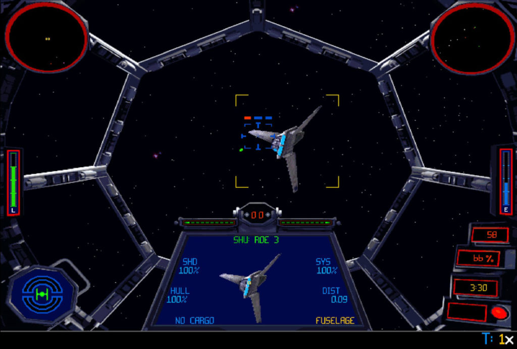 A TIE fighter follows a shuttle in Star Wars: TIE Fighter.