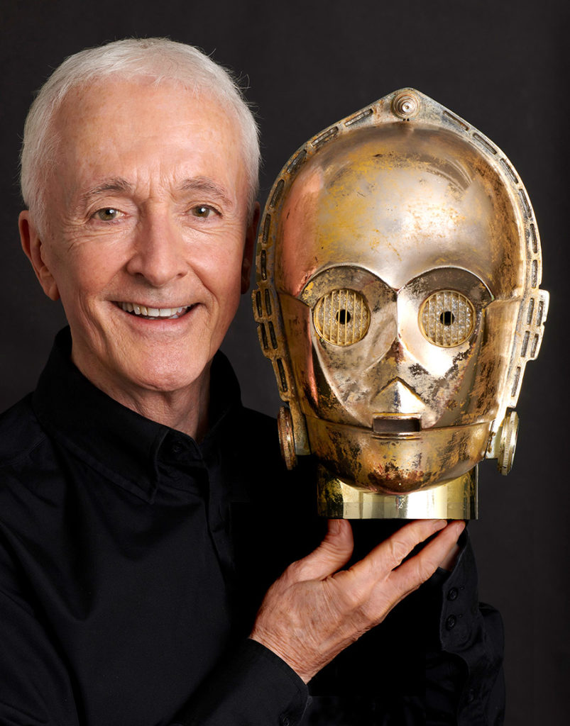 Anthony Daniels and the headpiece for his C-3PO costume.