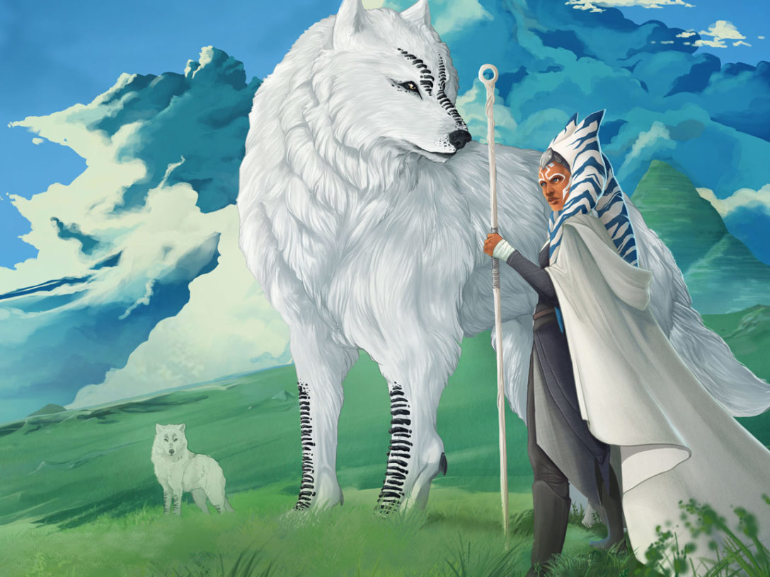 Ahsoka Tano and a pack of Loth-wolves standing in an open field on Lothal
