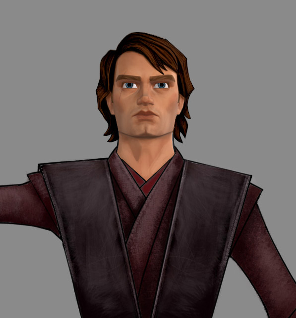 Animation concept art of Anakin Skywalker.