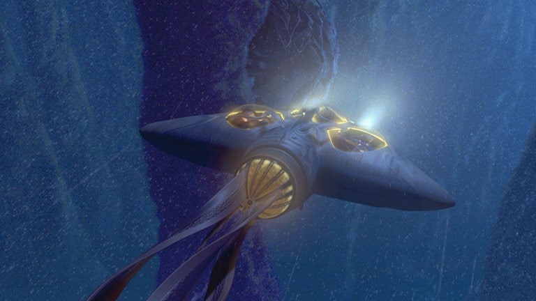 A Gungan bongo travels underwater in Star Wars: The Phantom Menace.