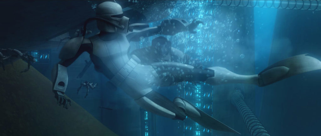 A Clone Wars SCUBA trooper battles underwater.