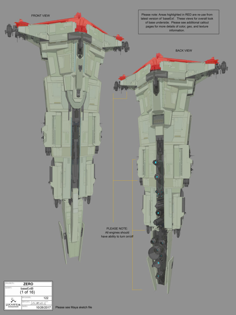 Concept art/turnarounds of the Colossus from Star Wars Resistance.