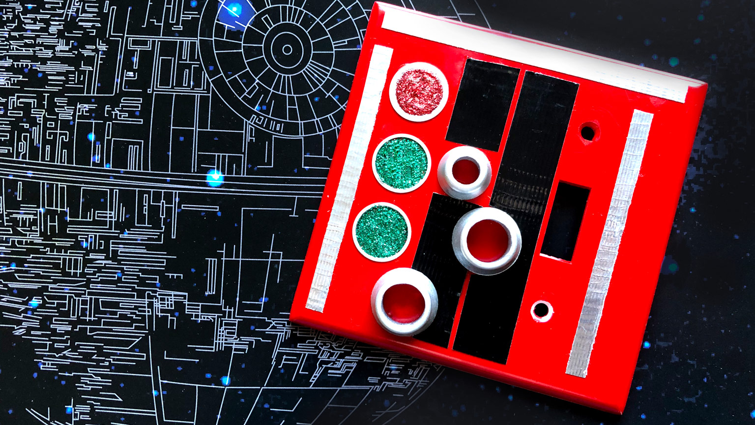 Death Star control panel light switch plate complete.