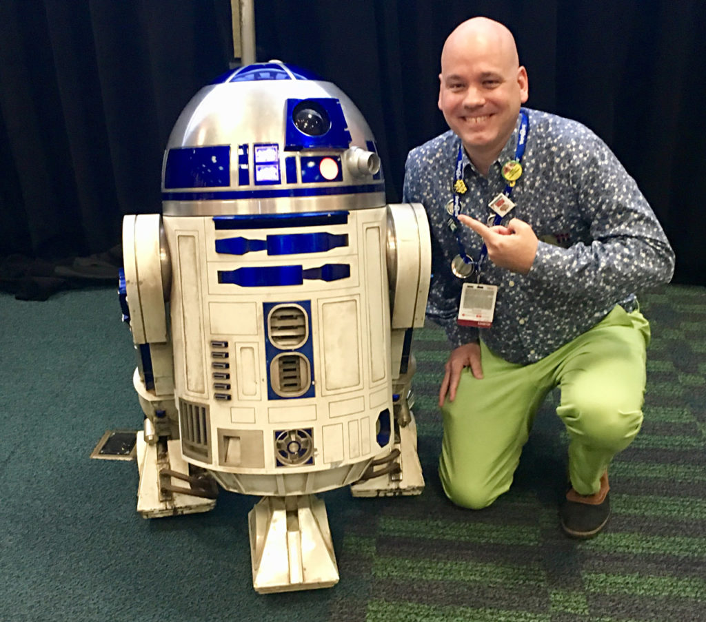 Jason Fry with R2-D2 at Star Wars Celebration.