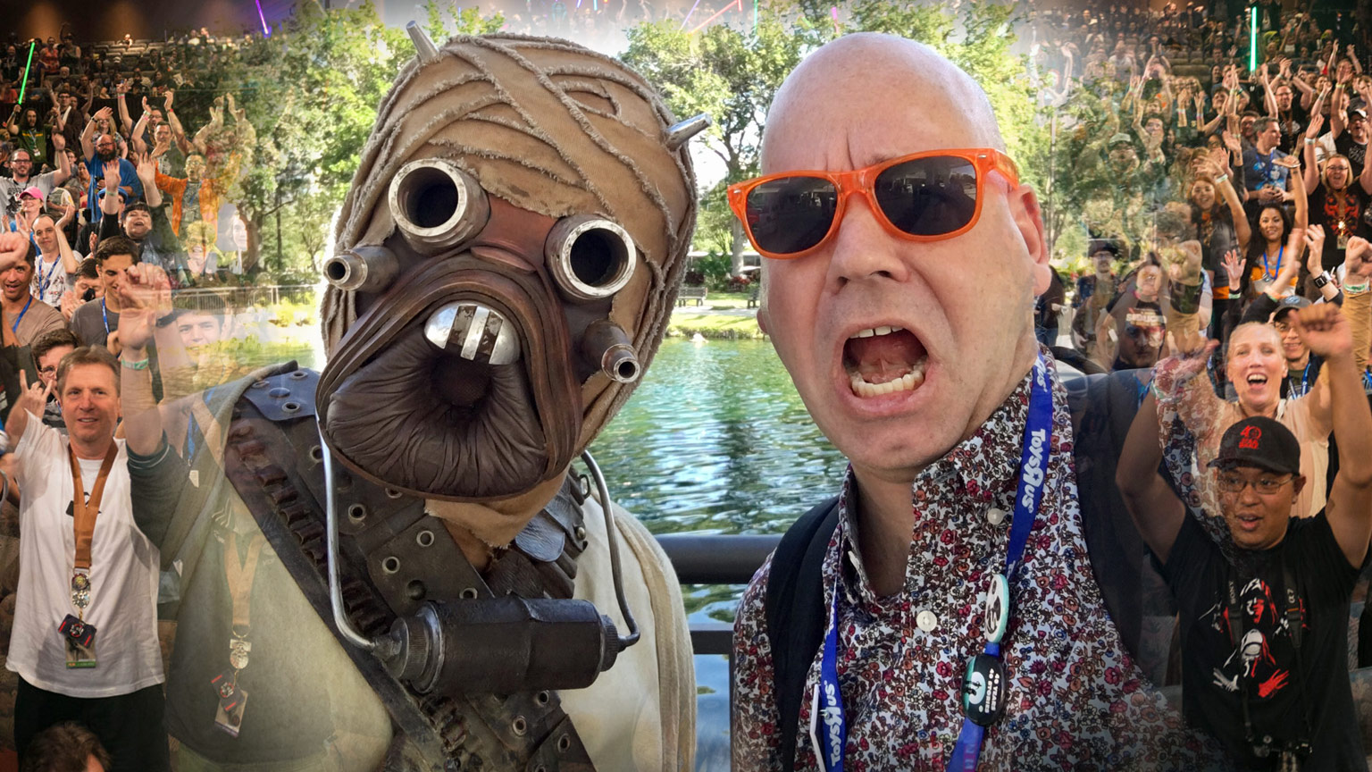 Jason Fry with a Tusken Raider cosplayer at Star Wars Celebration.