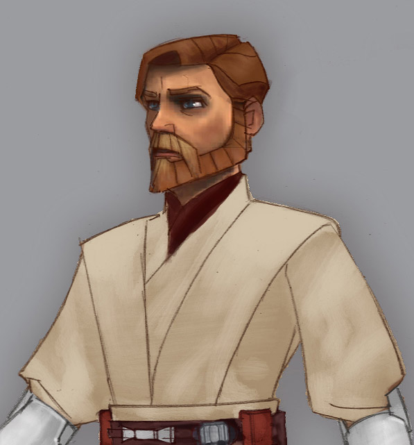 Animation concept art of Obi-Wan Kenobi.