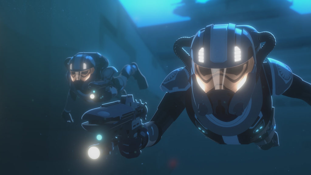 First Order SCUBA troopers hunt for Kaz underwater in Star Wars Resistance.