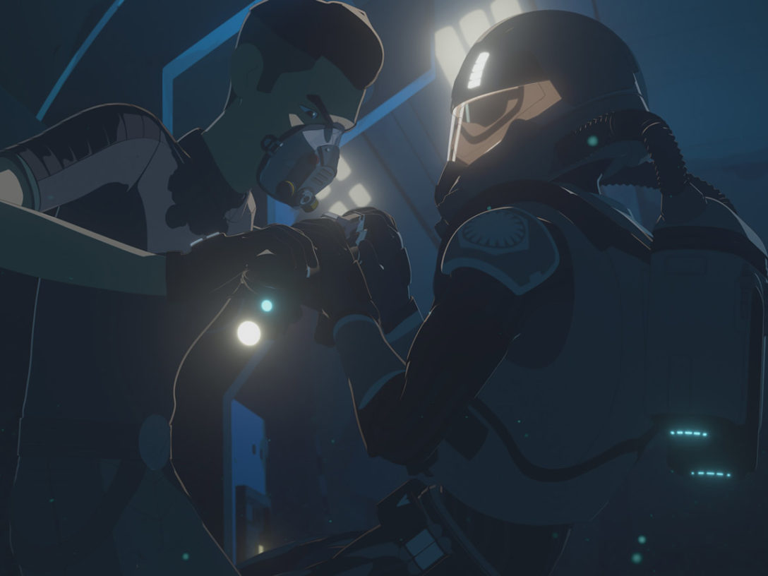 Kaz battles a First Order SCUBA trooper in Star Wars Resistance.
