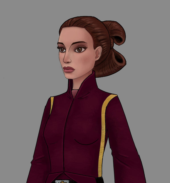 Animation concept art of Padme Amidala.