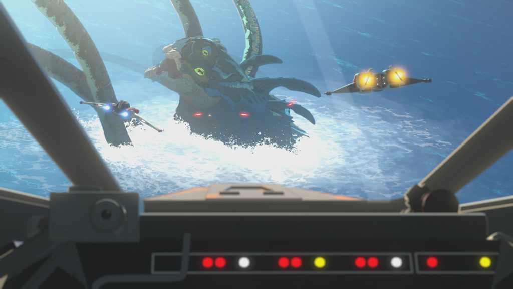 The rakkna attacks the Colossus in Star Wars Resistance.