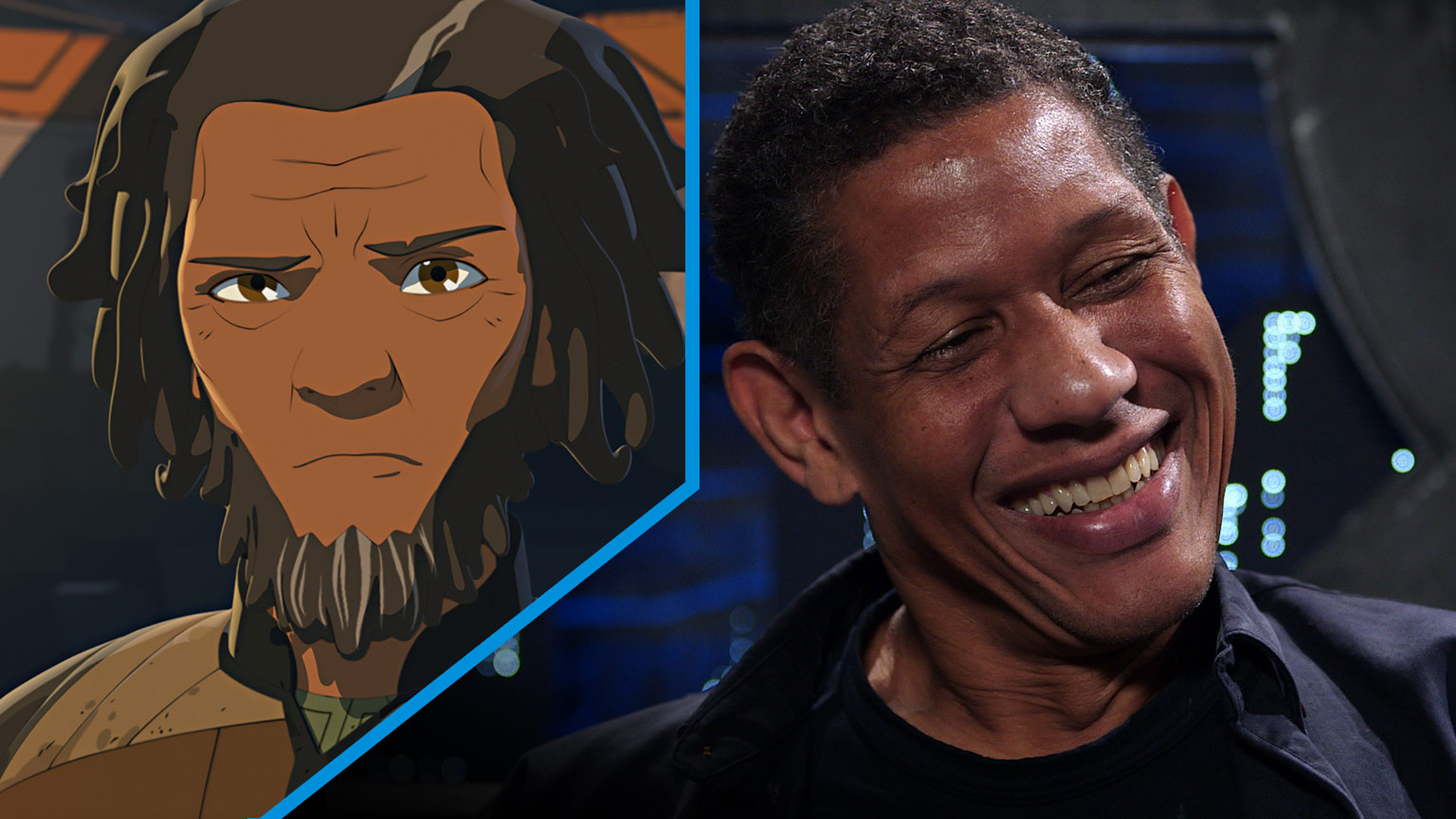 A split screen of Jarek Yeager of Star Wars Resistance and actor Scott Lawrence.