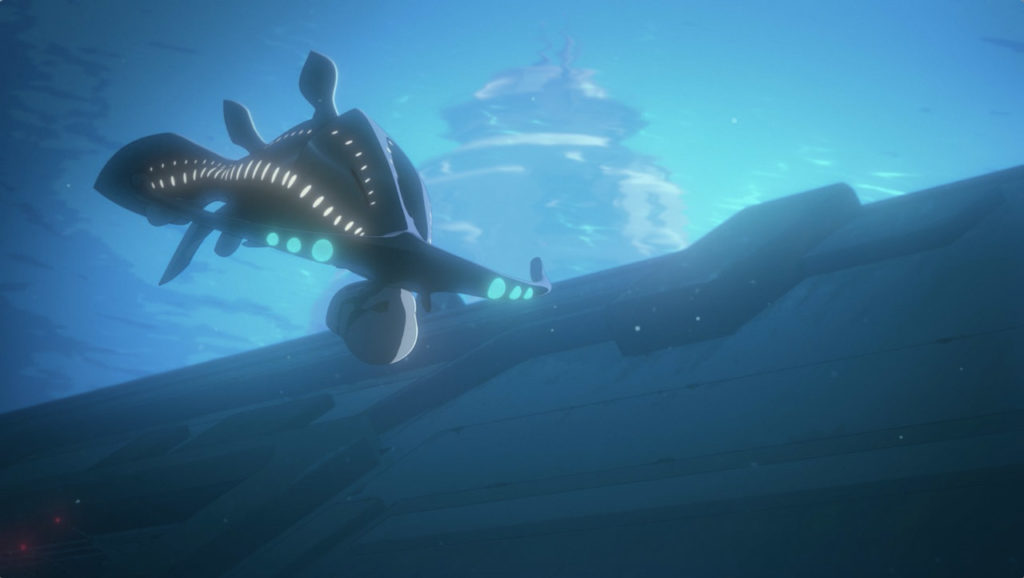 The sharvo swims with a stormtrooper helmet in its mouth in Star Wars Resistance.