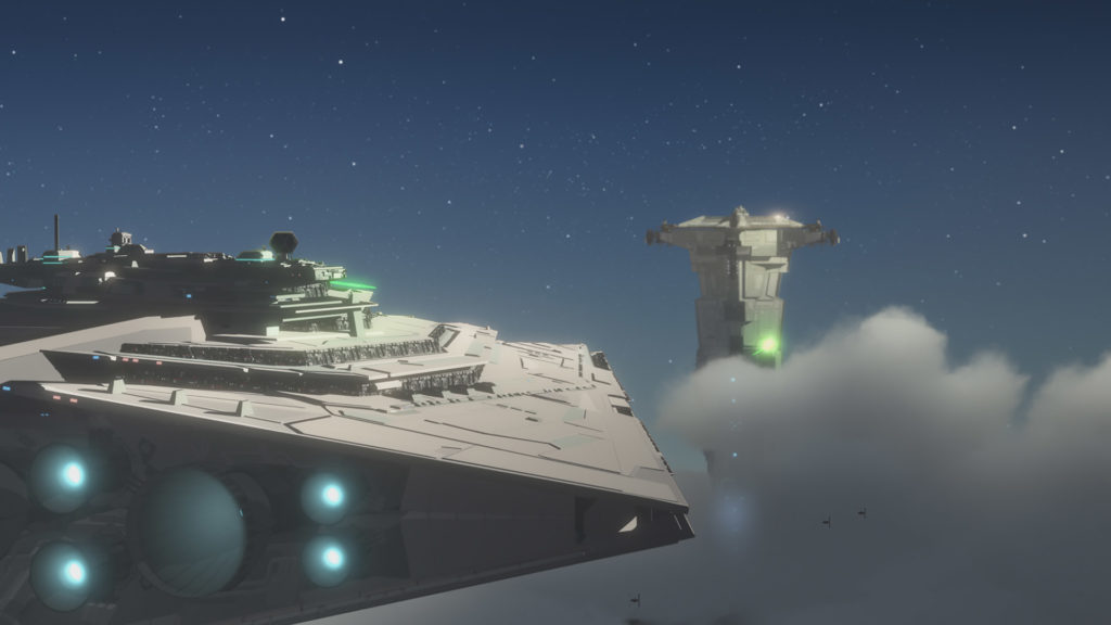 A Star Destroyer chases the Colossus in Star Wars Resistance.