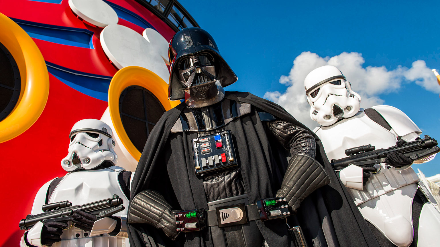 Darth Vader and stormtroopers aboard the Disney Fantasy.