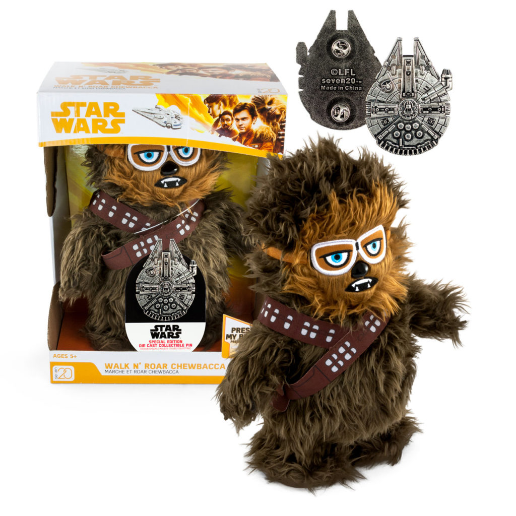 Walk-N-Roar Chewbacca Plush with Collectible Millennium Falcon Pin - Star Wars Celebration Chicago exclusive.