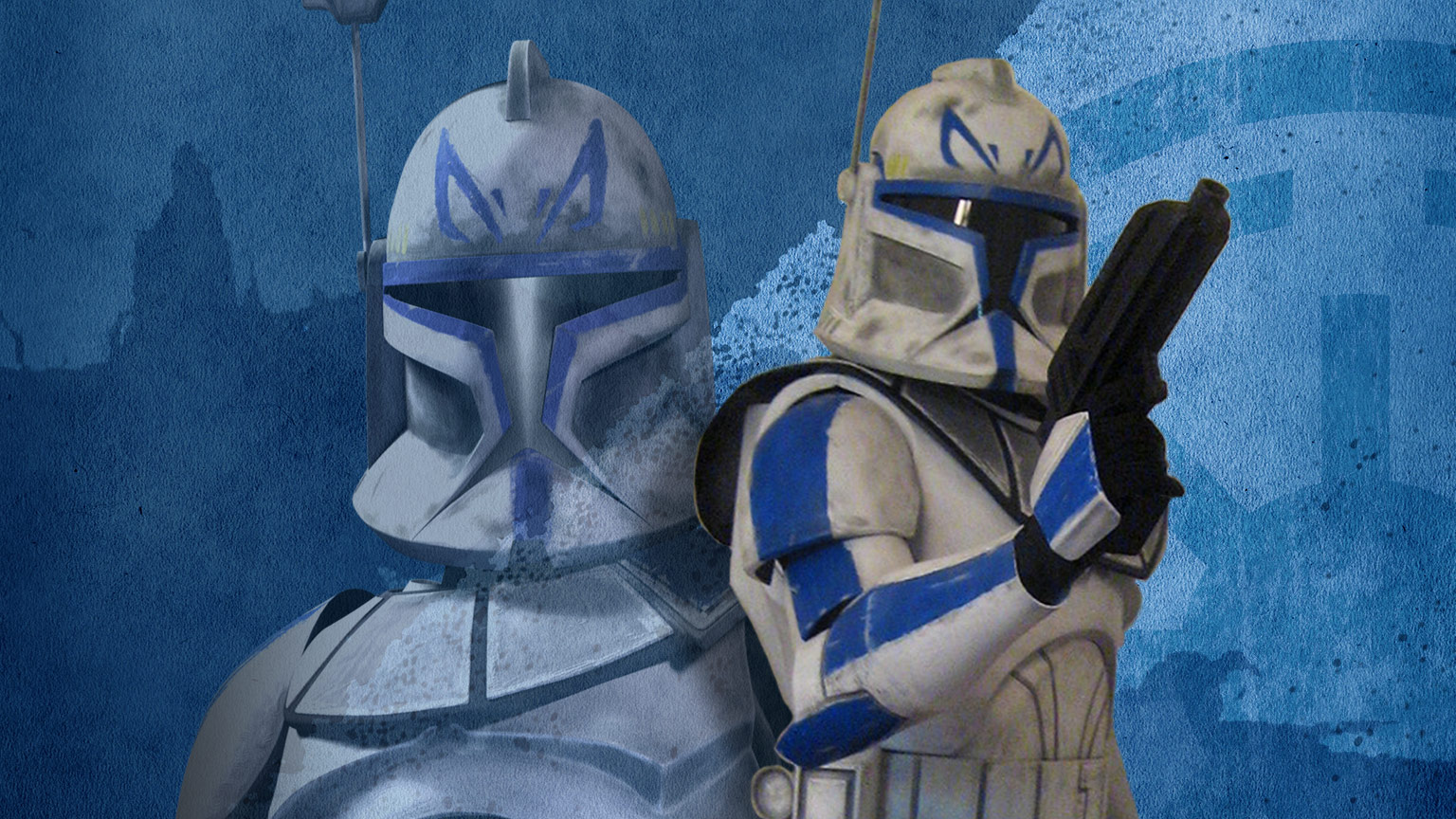 A Captain Rex cosplayer stands with his animated clone.