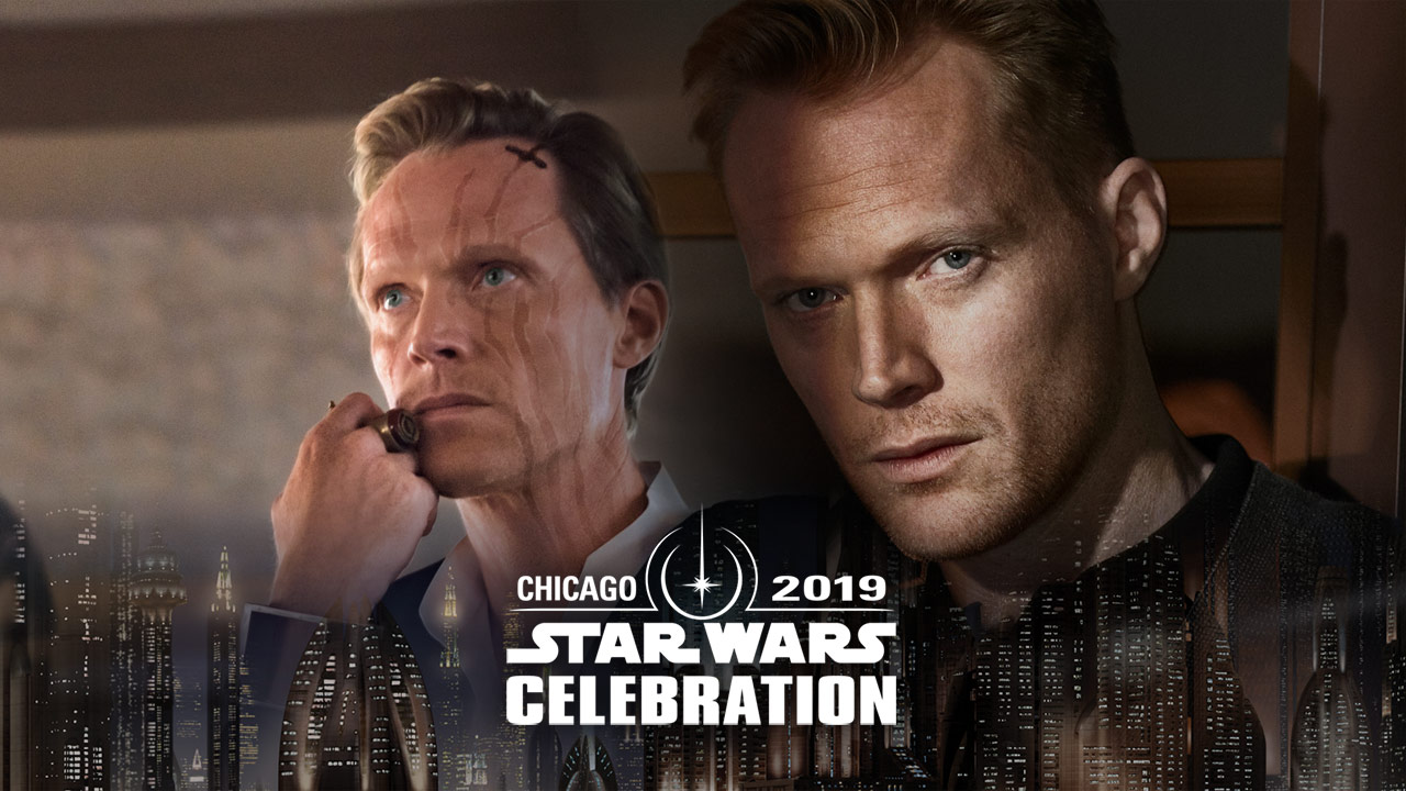 Paul Bettany and his character, Dryden Vos, in an image for Star Wars Celebration Chicago.