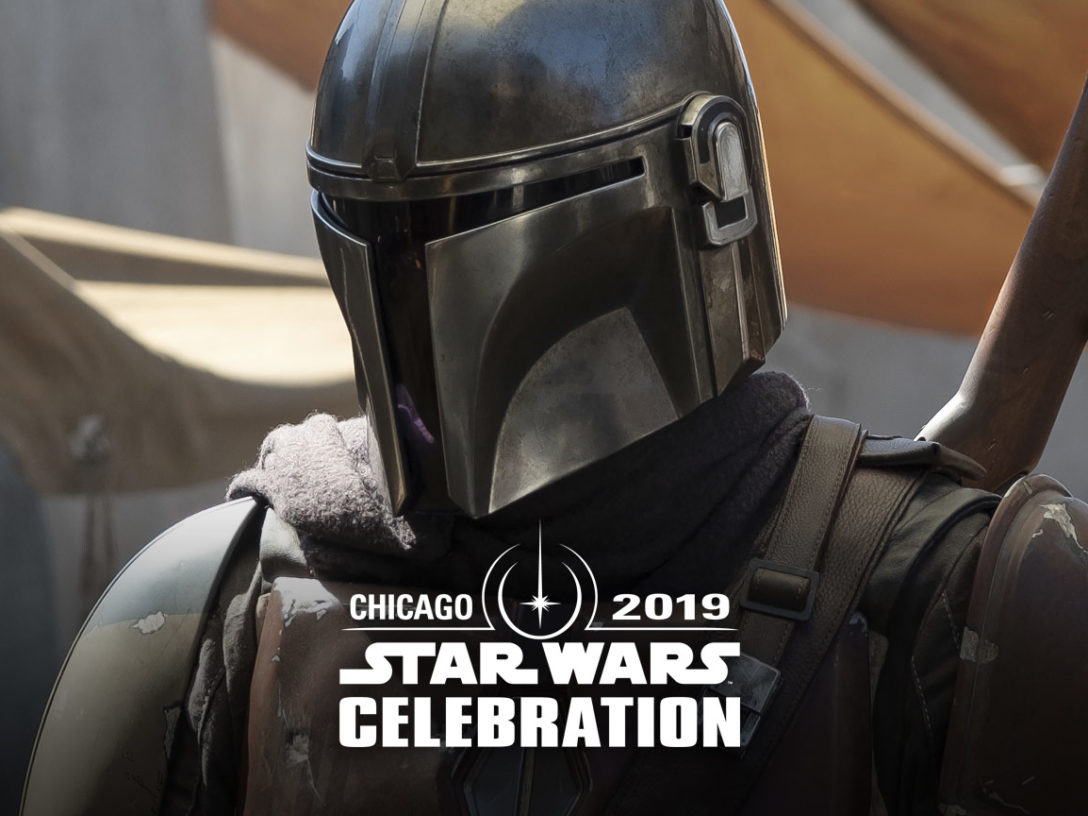 The Mandalorian with the Star Wars Celebration Chicago logo.