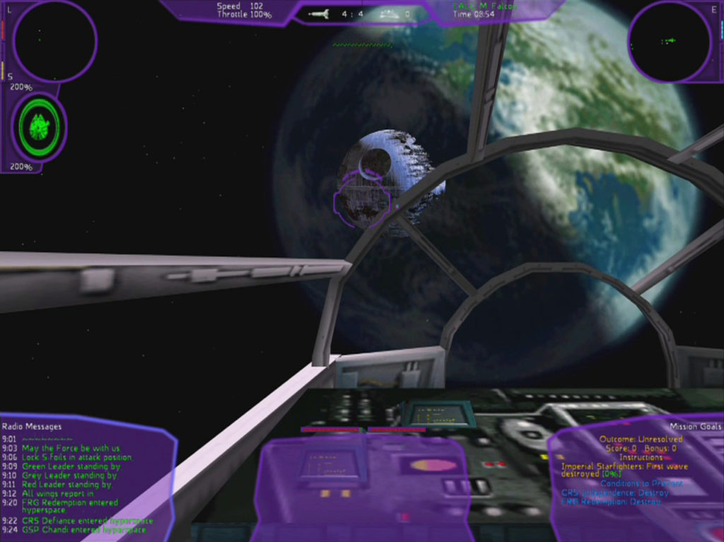 A view of the Death Star in Star Wars: X-Wing Alliance.