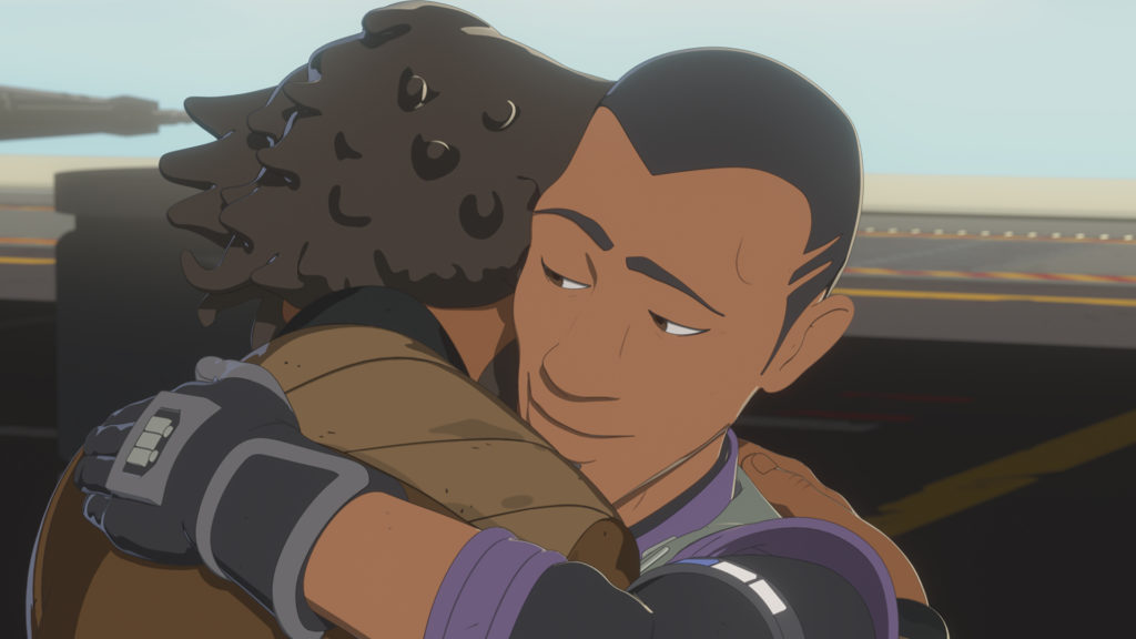Yeager and his brother Marcus embrace on Star Wars Resistance.