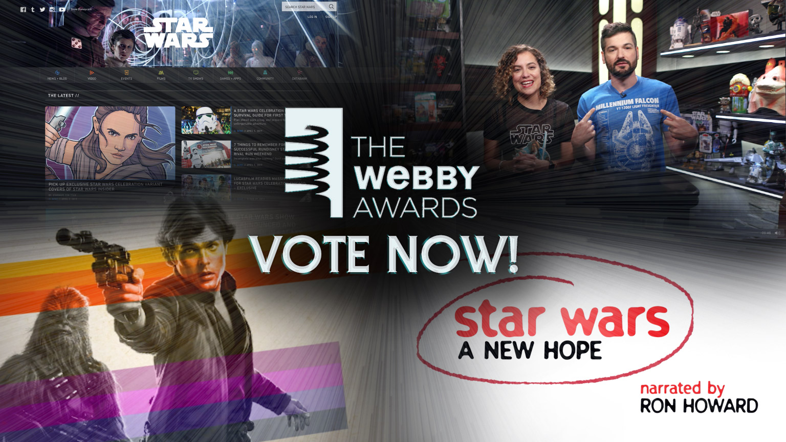 Montage of StarWars.com homepage and the Star Wars Show for the Webby Awards 2019.