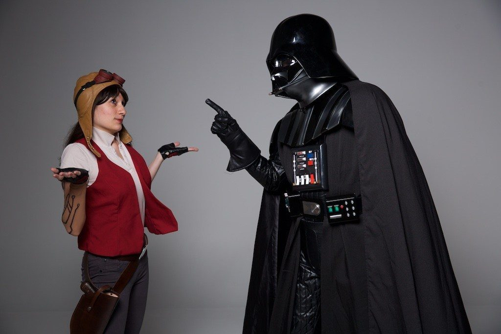 Doctor Aphra cosplayer with Darth Vader.
