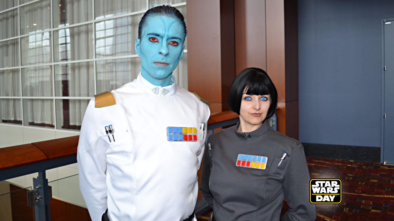 Star Wars fans Ashe and Jake dressed as Thrawn and Pryce.