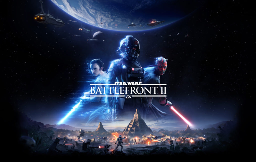 Star Wars Battlefront II key art featuring Iden Version, Darh Maul, and Rey.