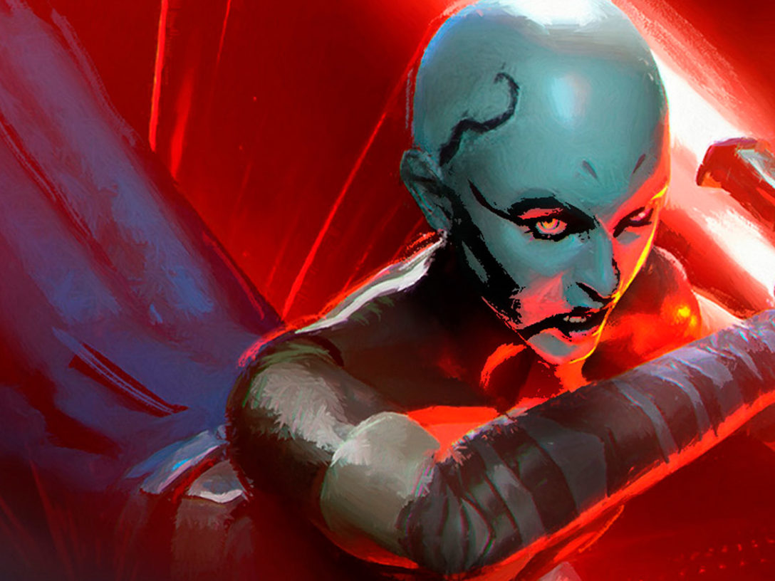 "Asajj Ventress on the cover of ""Dooku: Jedi Lost"""