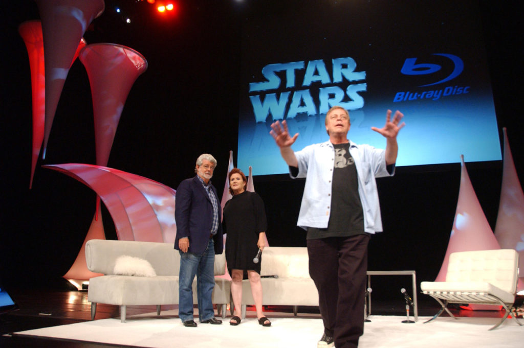 George Lucas with Carrie Fisher and Mark Hamill at Star Wars Celebration.