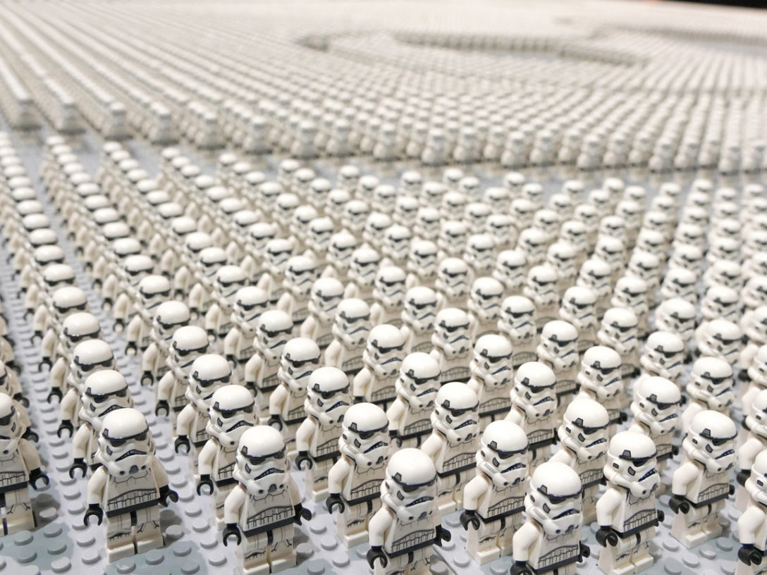 That's a lot of LEGO stormtrooper minifigures -- assembled for a display at Star Wars Celebration Chicago. (Alex Garcia/AP Images for The LEGO Group)