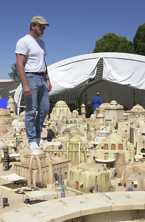 Modelmaker John Goodson with miniature Tatooine Hanger Set.