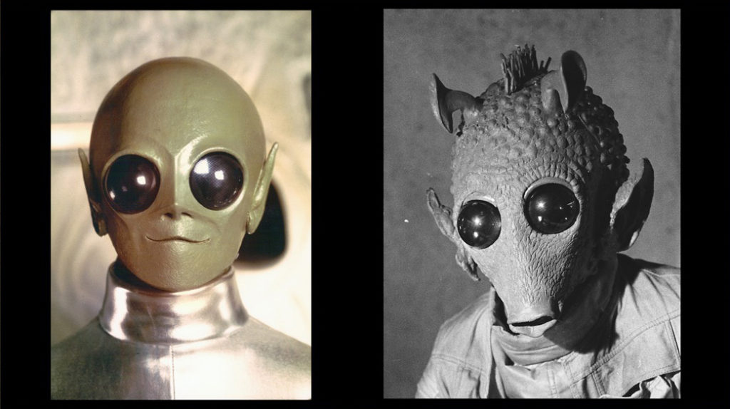 Left: an alien froma commercial. Right: The alien he would become, Greedo