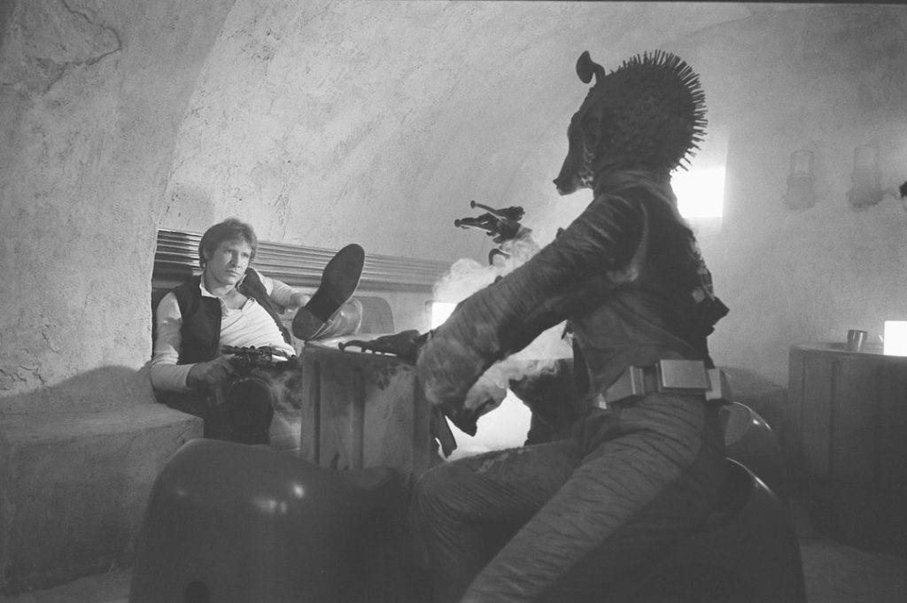 Who will shoot first? Han and Greedo in the cantina.