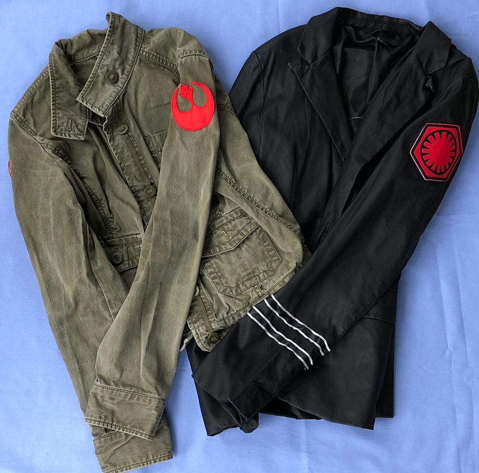 Ordinary jackets used for last-minute Star Wars cosplay.