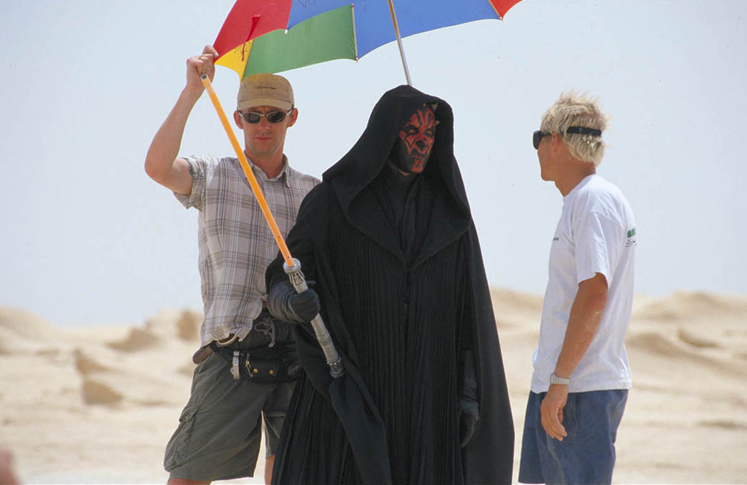 A behind-the-scenes photo from The Phantom Menace.