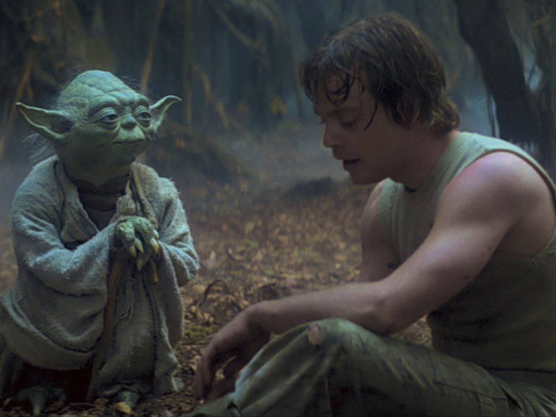 Luke and Yoda in The Empire Strikes Back.