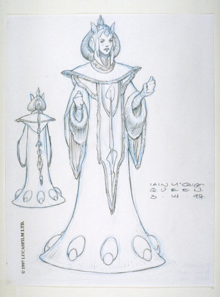 Queen Amidala throne gown sketch