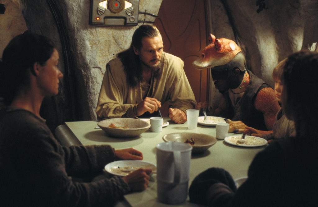 Filming the dinner scene at Anakin's home in The Phantom Menace.