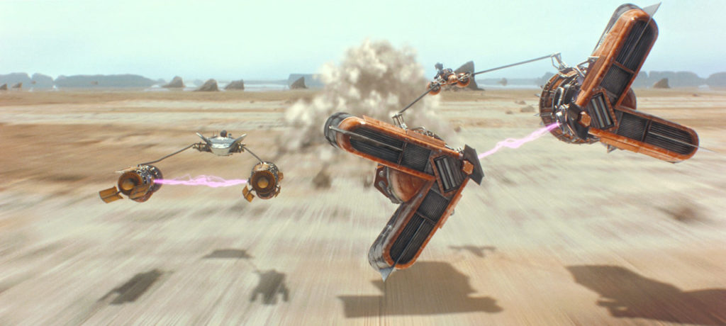 Anakin and Sebulba clash in the podrace.