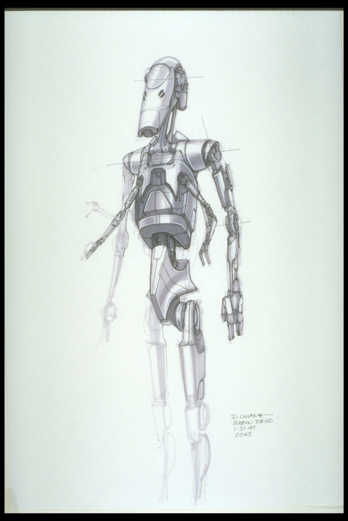 Battle droid concept sketch by Doug Chiang.
