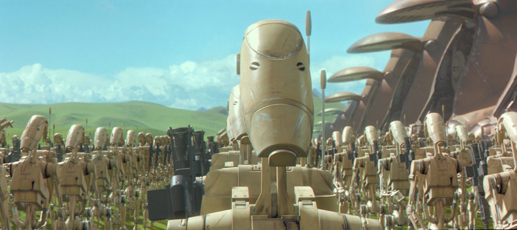 Battle droids prepare to attack in Star Wars: The Phantom Menace.