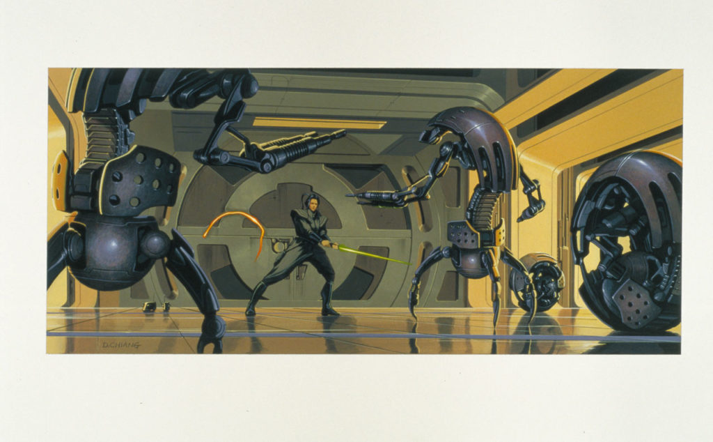 Phantom Menace concept painting of Jedi and droidekas.