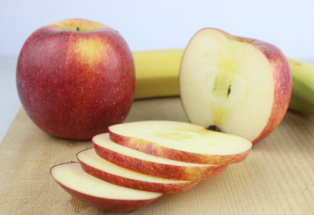 Sliced apples for a Fruit TIE Fighters recipe